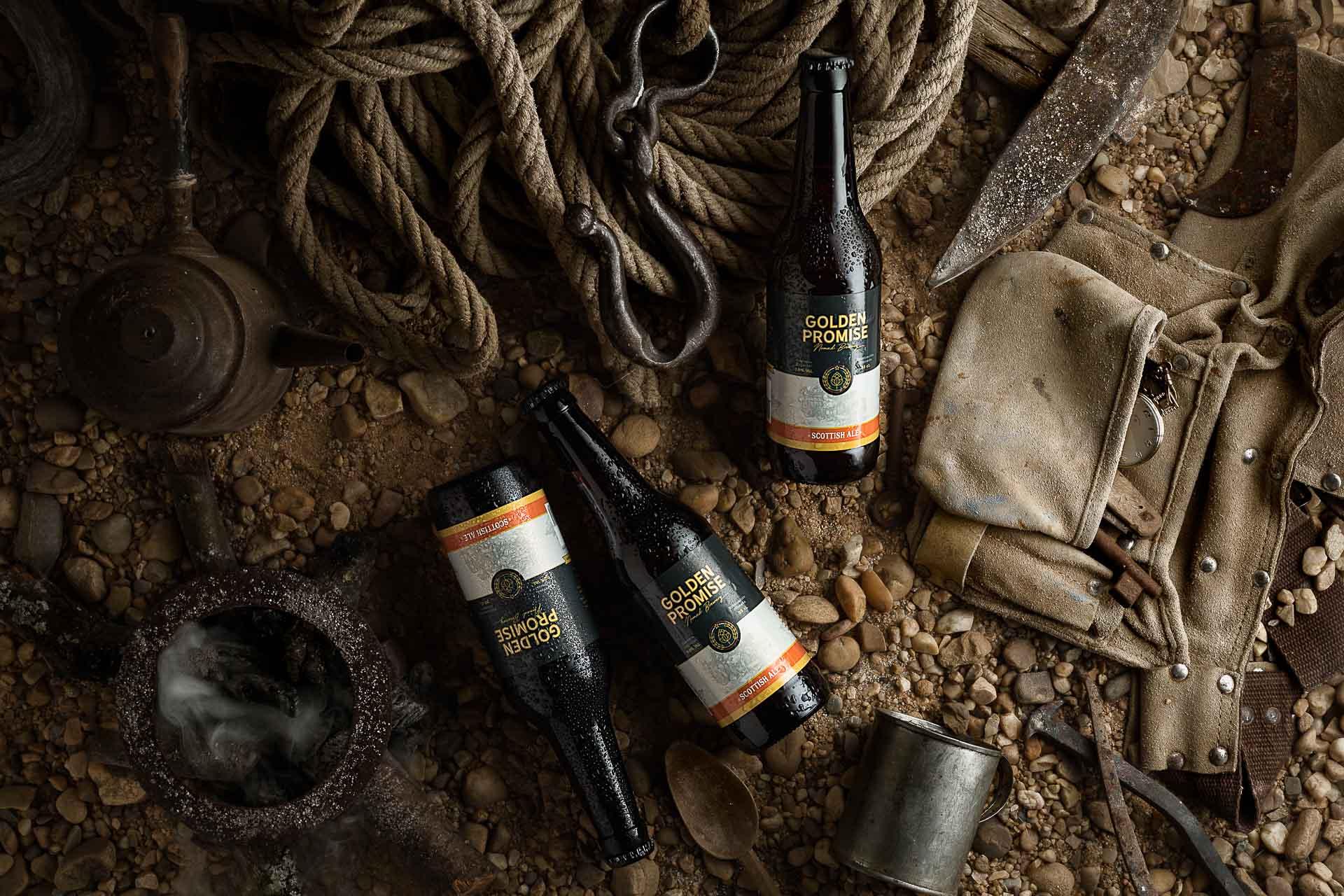 Fotografia de Producto Zaragoza Publicitaria Golden Promise botellas